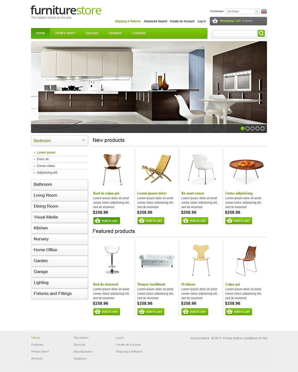The White and Lime Furniture Store OSCommerce Theme