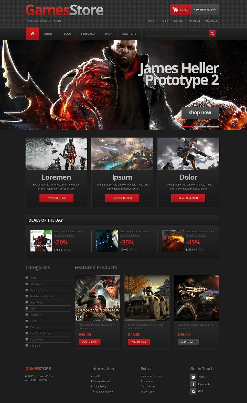 Clean Games store JigoShop Theme