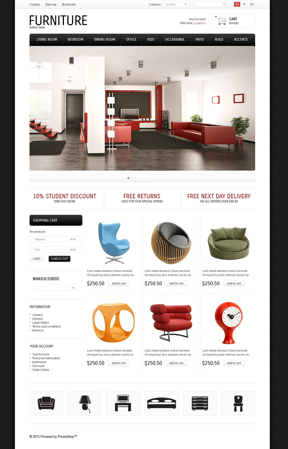 Simple & Elegant Furniture PrestaShop Theme