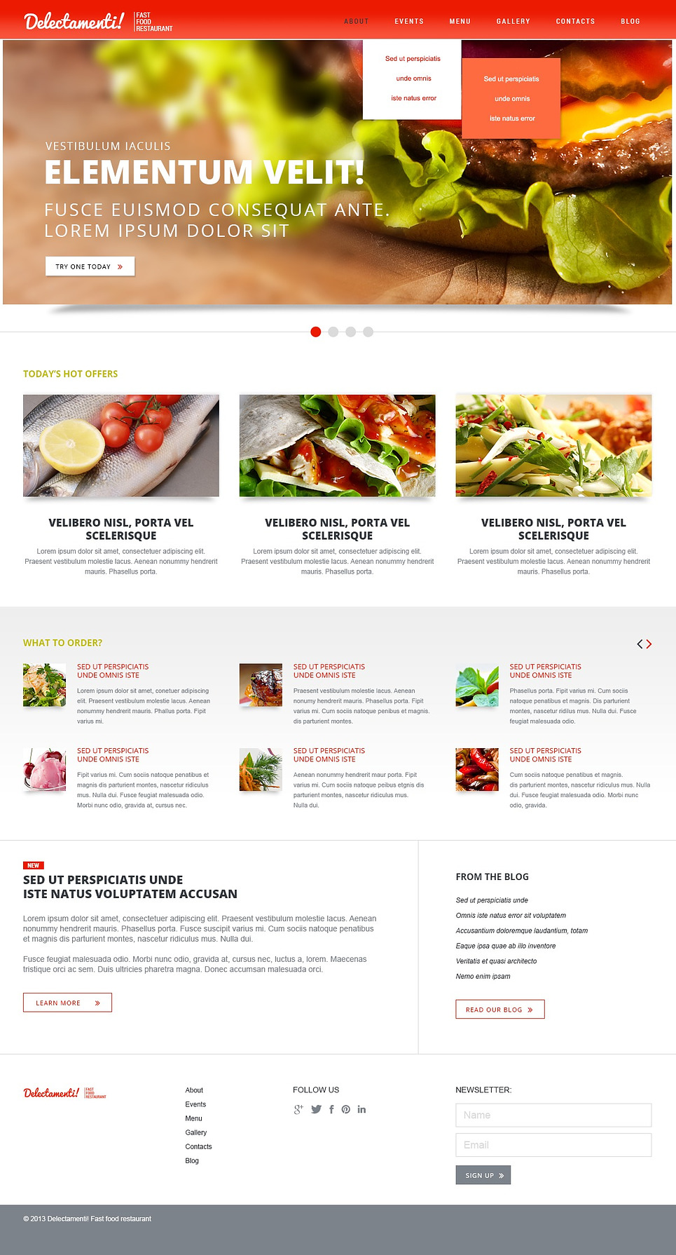 Free Premium Cafe And Restaurant Joomla Template Food