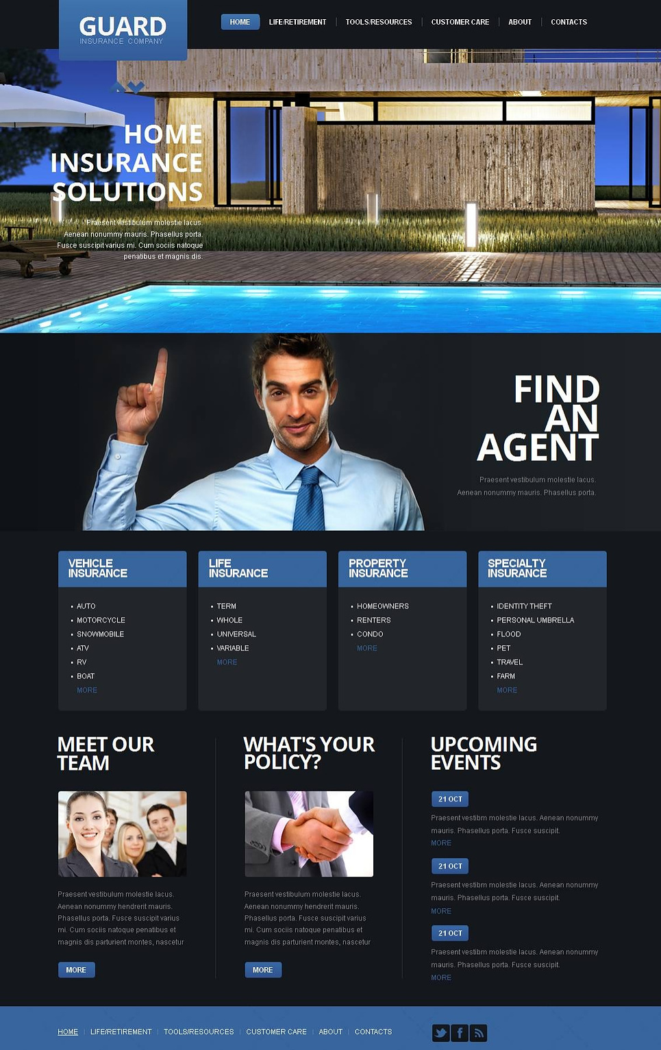 Insurance Template with jQuery Slider and Dark Background - image