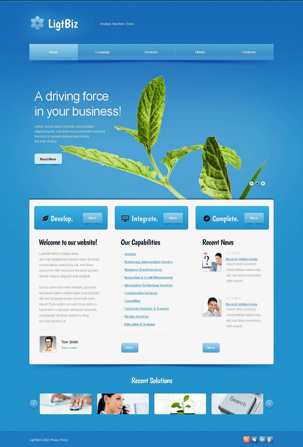 Business Website Template with Light Blue Background - image