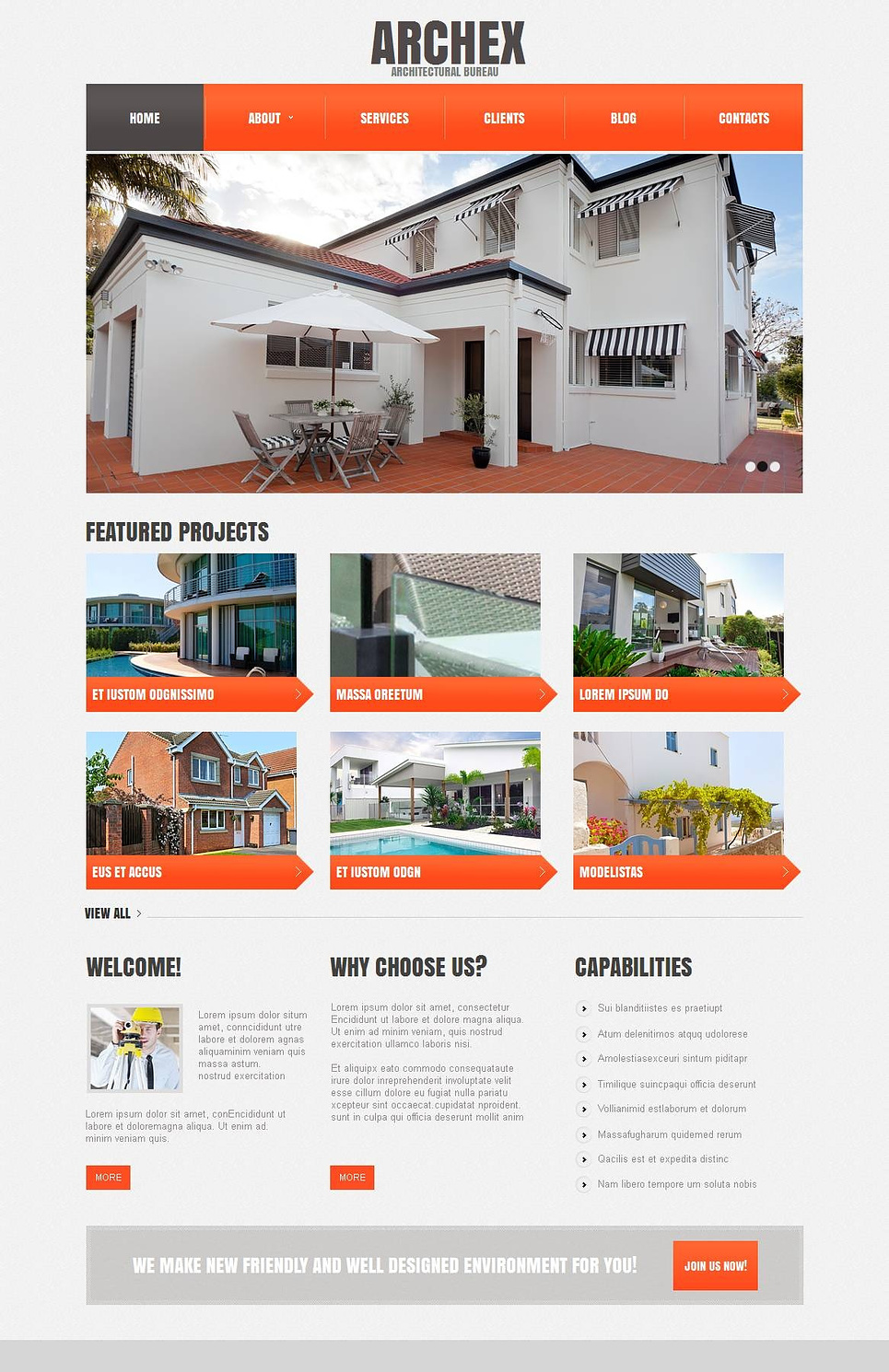 Gray Architecture Website Template with Orange Navigation Menu - image
