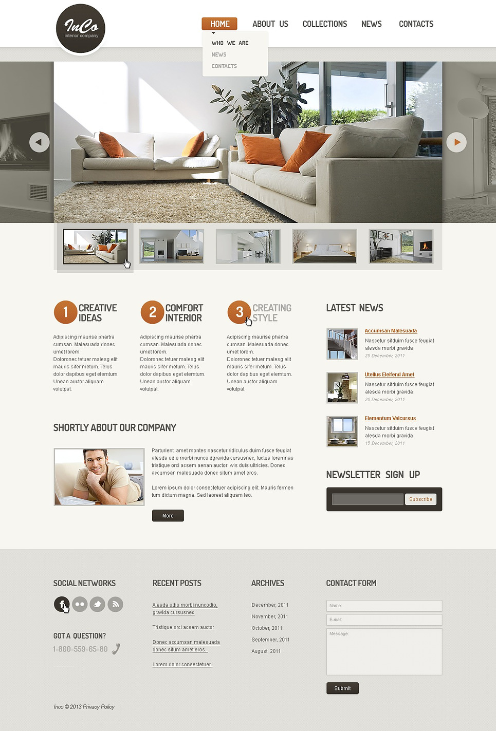Interior furniture responsive website template web for Interior design responsive website templates edge free download