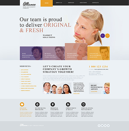 White Management Company Website Template by Glenn - Bootstrap ...