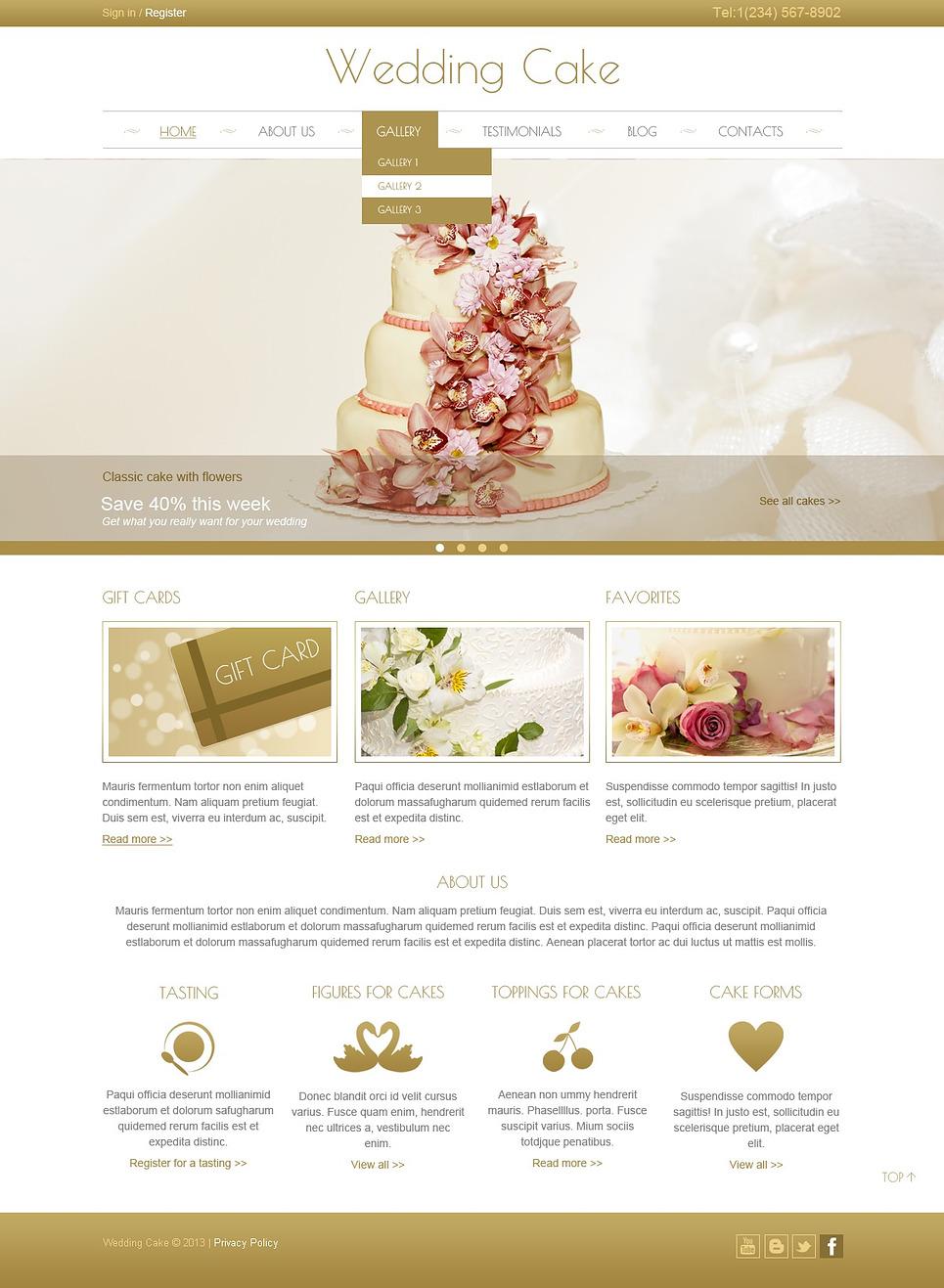 Cake Design Web Templates : Cream Wedding Cake Joomla Template #44444