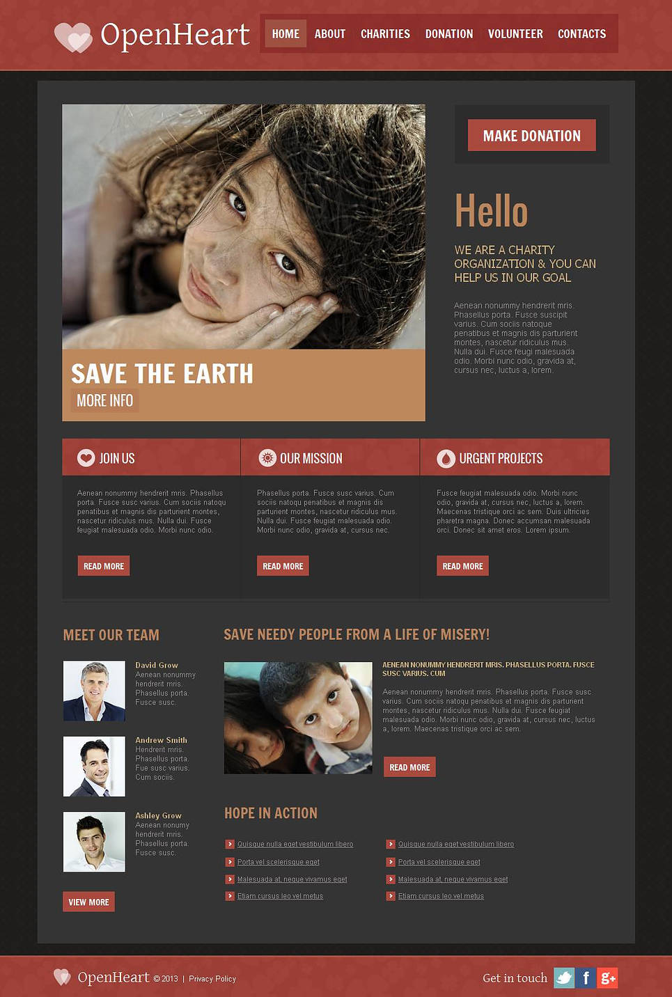 Dark Web Template with Red Accents for Nonprofits - image