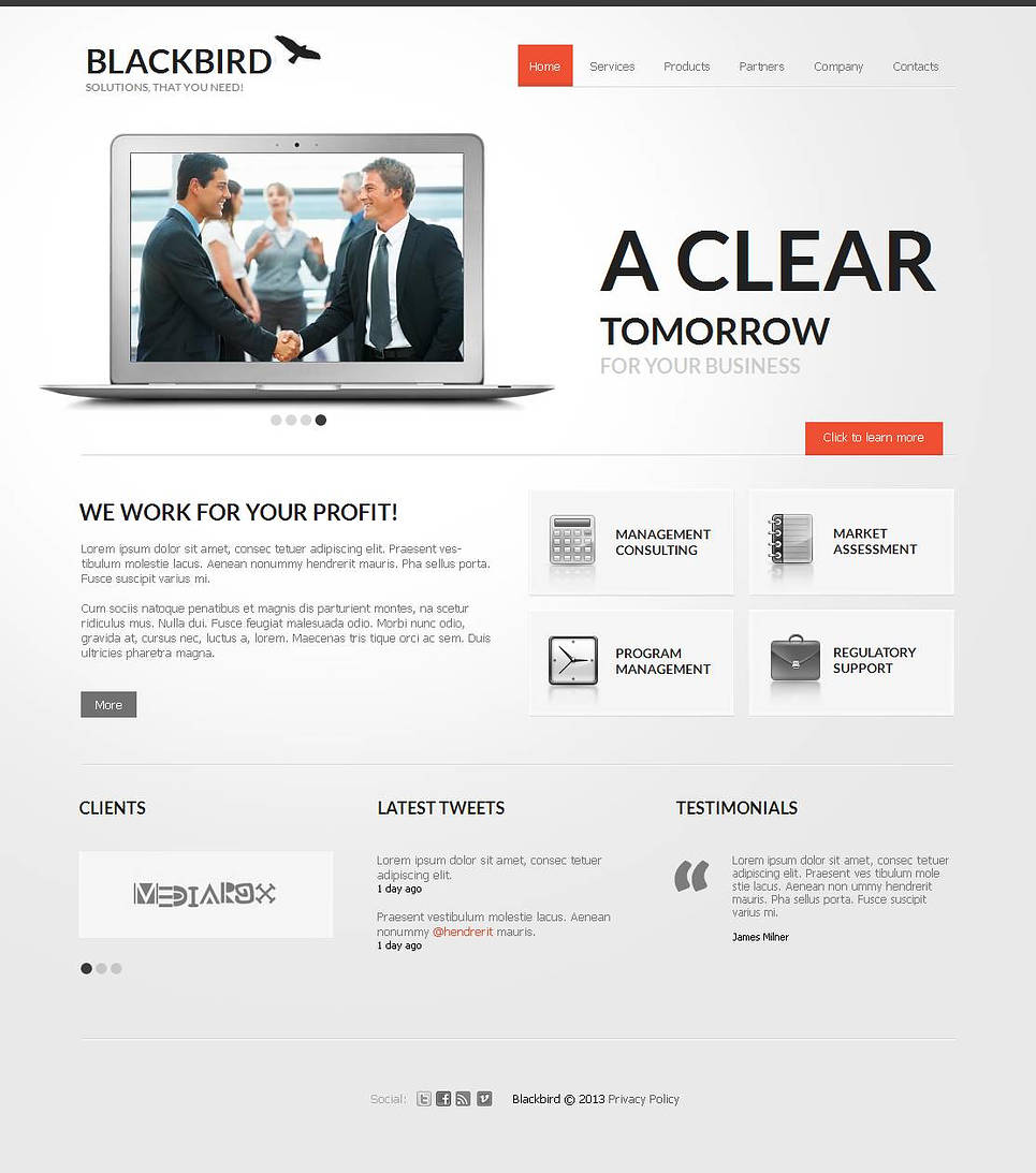 Clean Style Business Template with Creative Content Slider - image