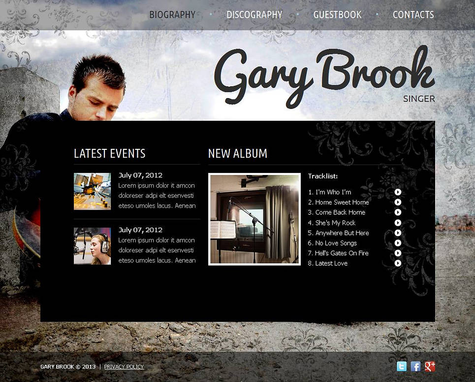 Singer Website Template with Background Photo - image