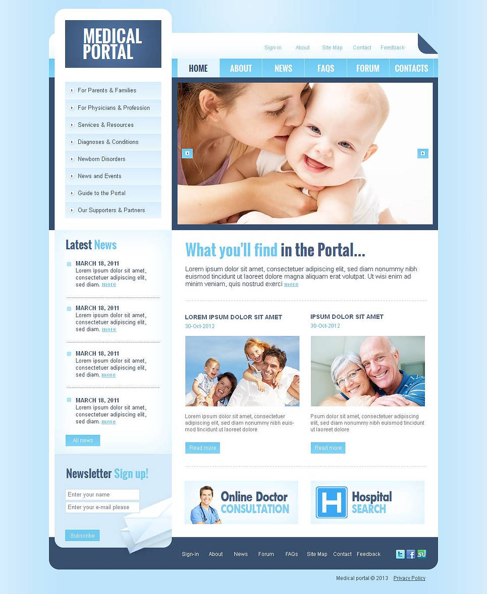 Medical Portal Website Template with jQuery Slider - image