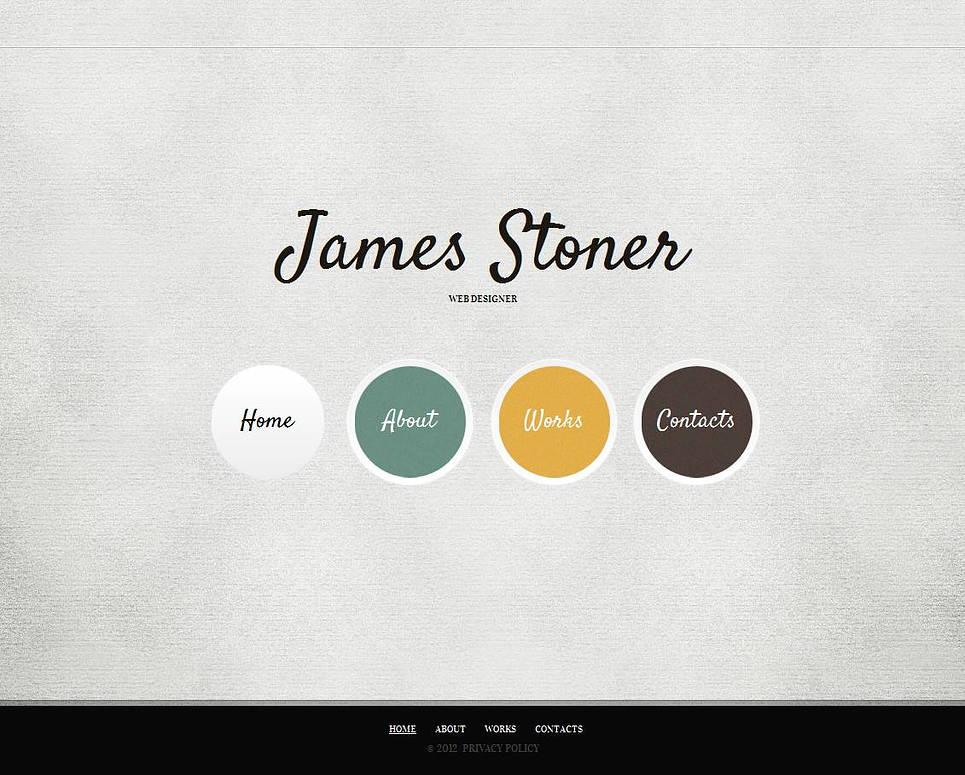 Web Design Portfolio Template with Round Menu Tabs - image