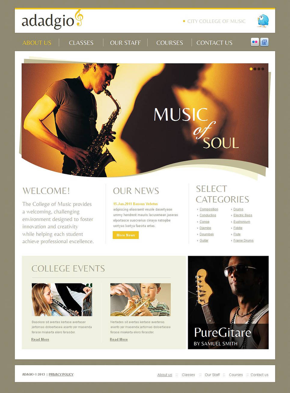 Music School Web Template with Creative Image Slider Design - image