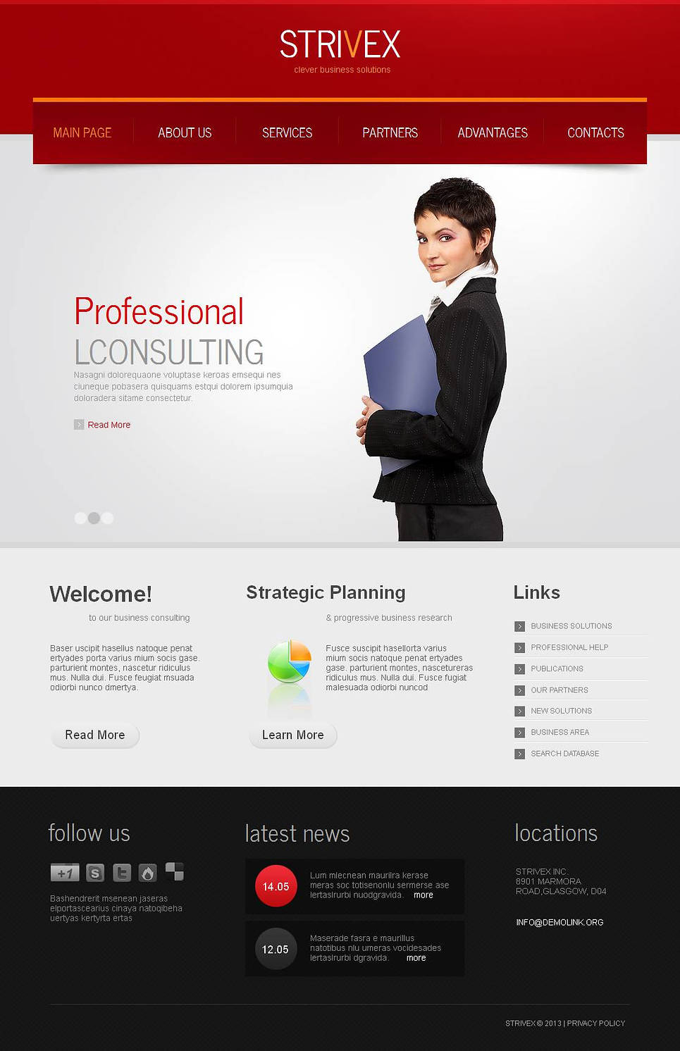 White Business Template with Red Header and Black Footer - image
