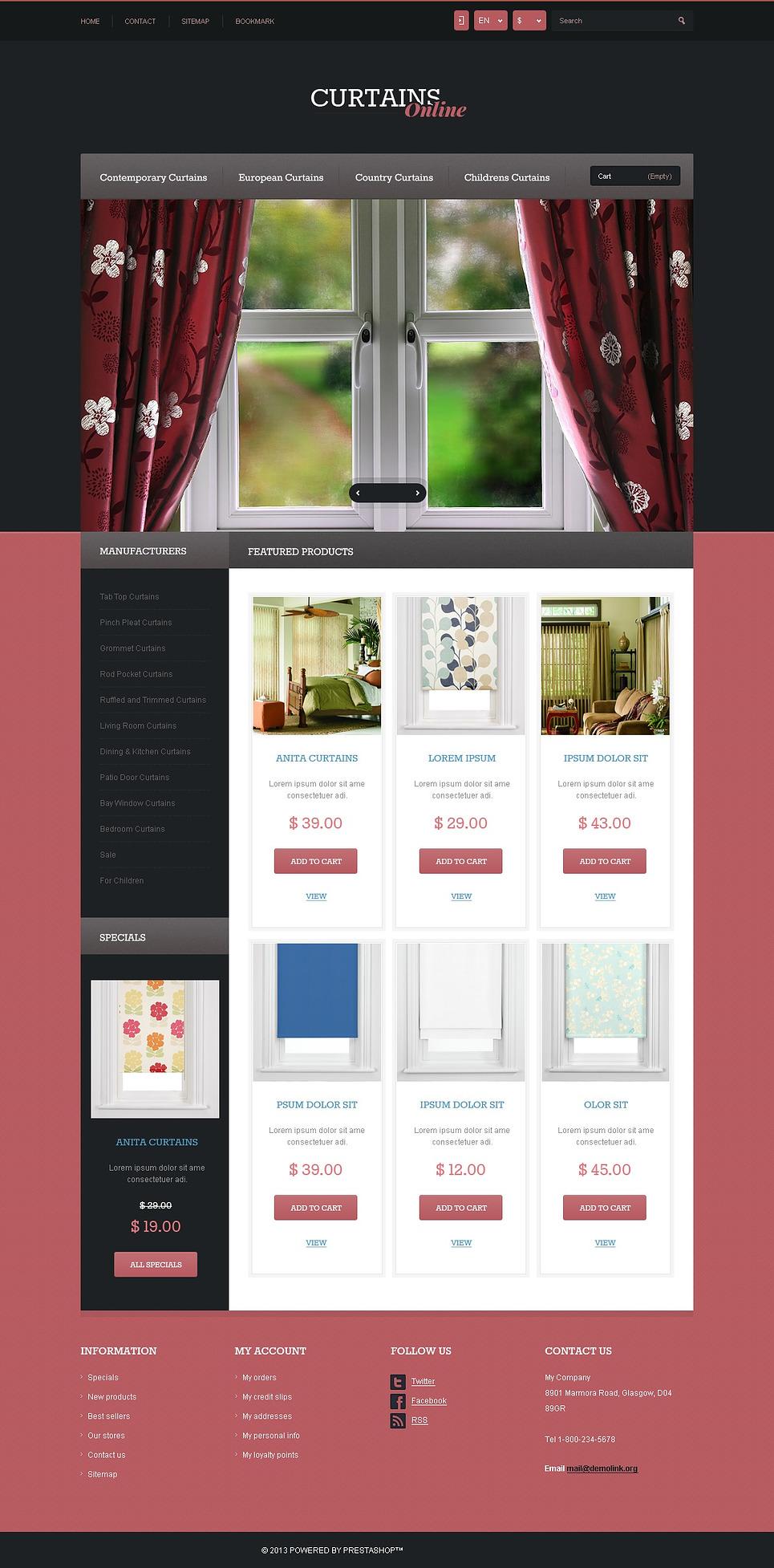 Pleasant Responsive Curtains Store PrestaShop Theme