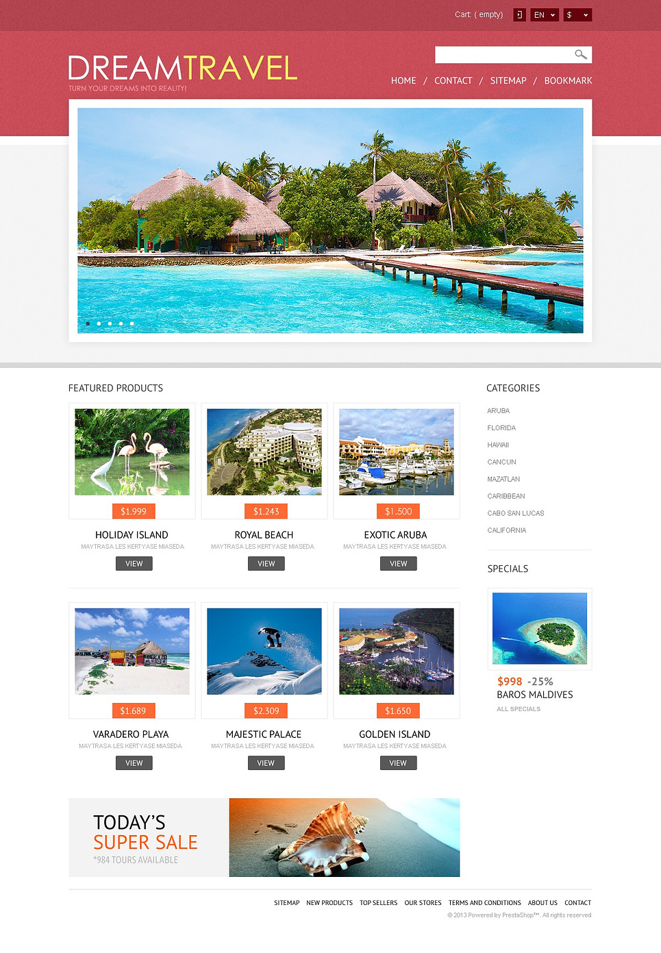 Amazing Dream Travel Store Responsive PrestaShop Theme