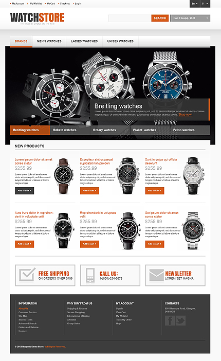 View live Demo for Watch Store - Responsive Magento Fashion Theme