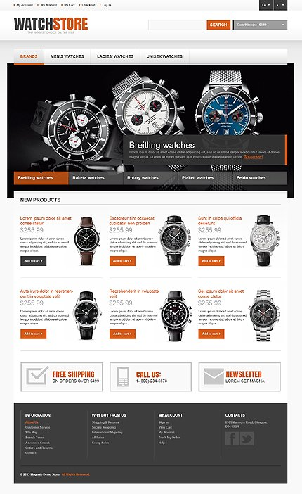 Watch store - Fantastic Watches Store Magento Theme