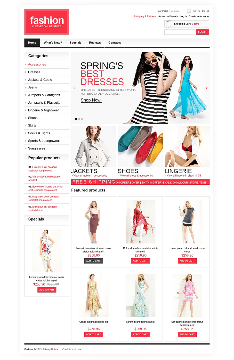 Interactive Fashion Online Accessory Store OSCommerce Template