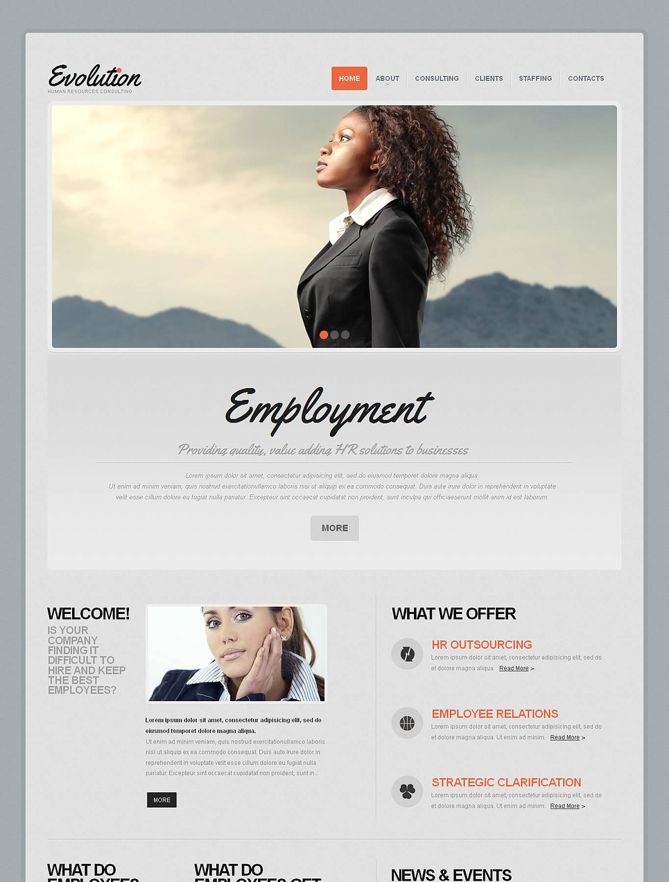 HR Consulting Website Template in Gray Tones - image