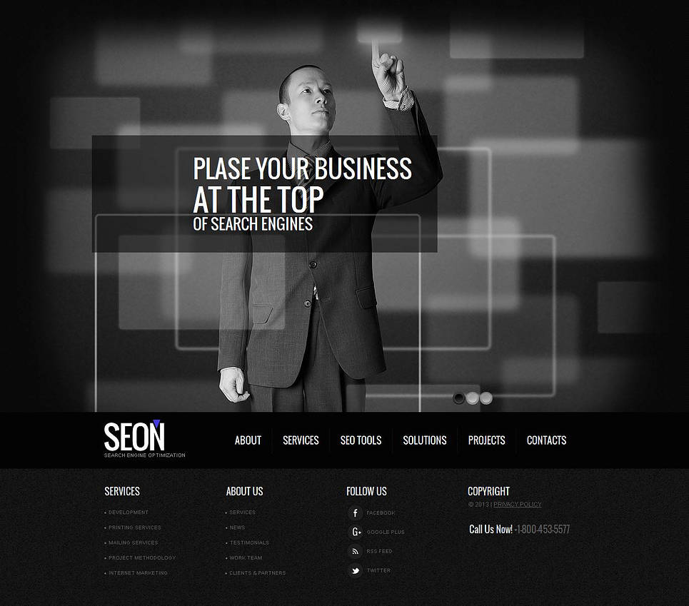 Black and White Business Website Template with a jQuery Slider - image