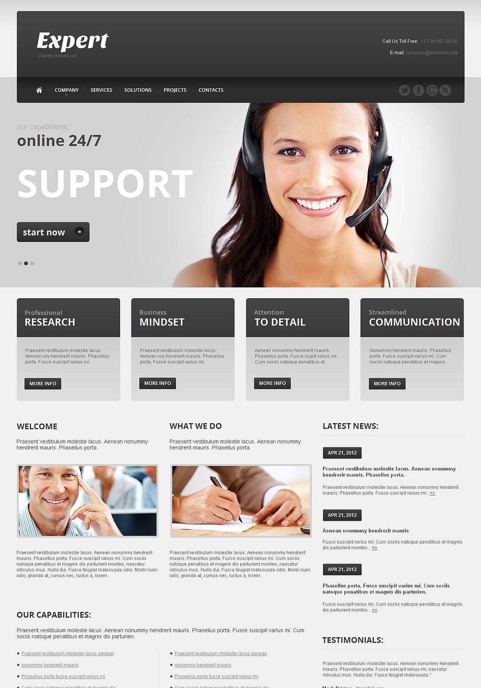 Call Center Website Template Done in Shades of Gray - image