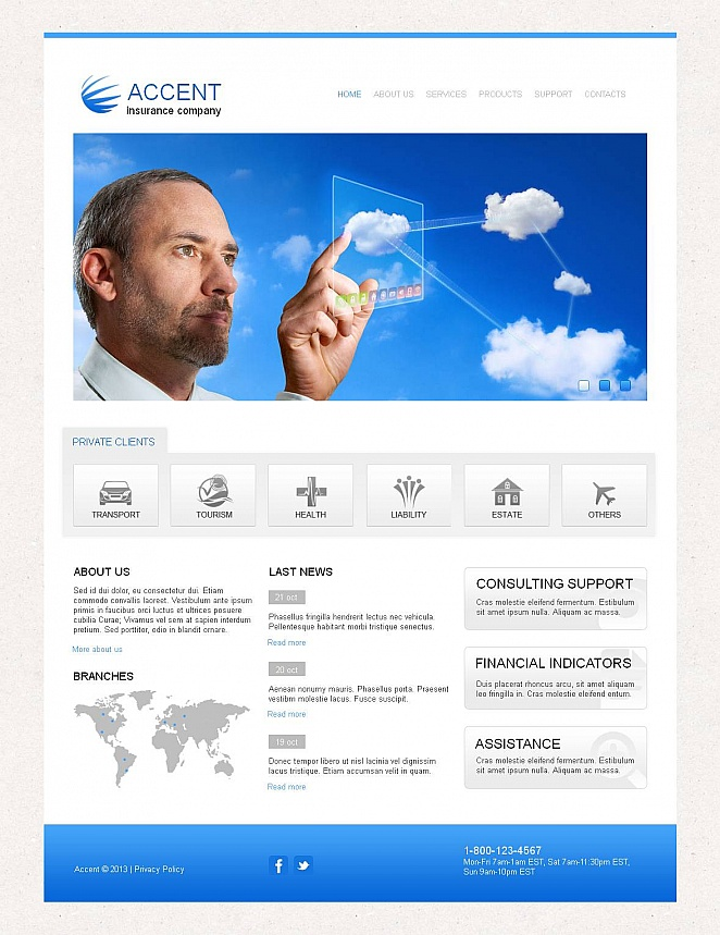 Insurance Business Website Template - image