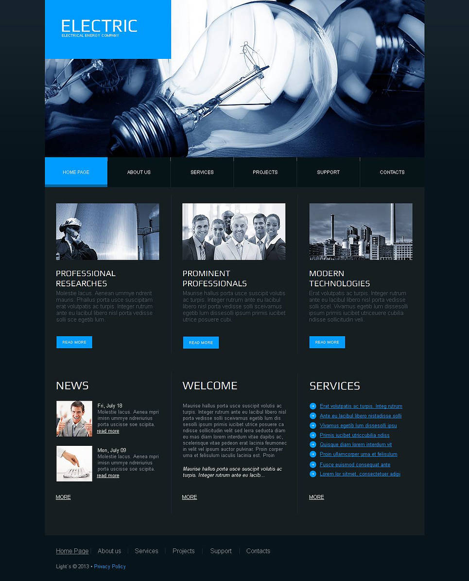 Electrical Energy Website Template Designed in Dark Colors - image