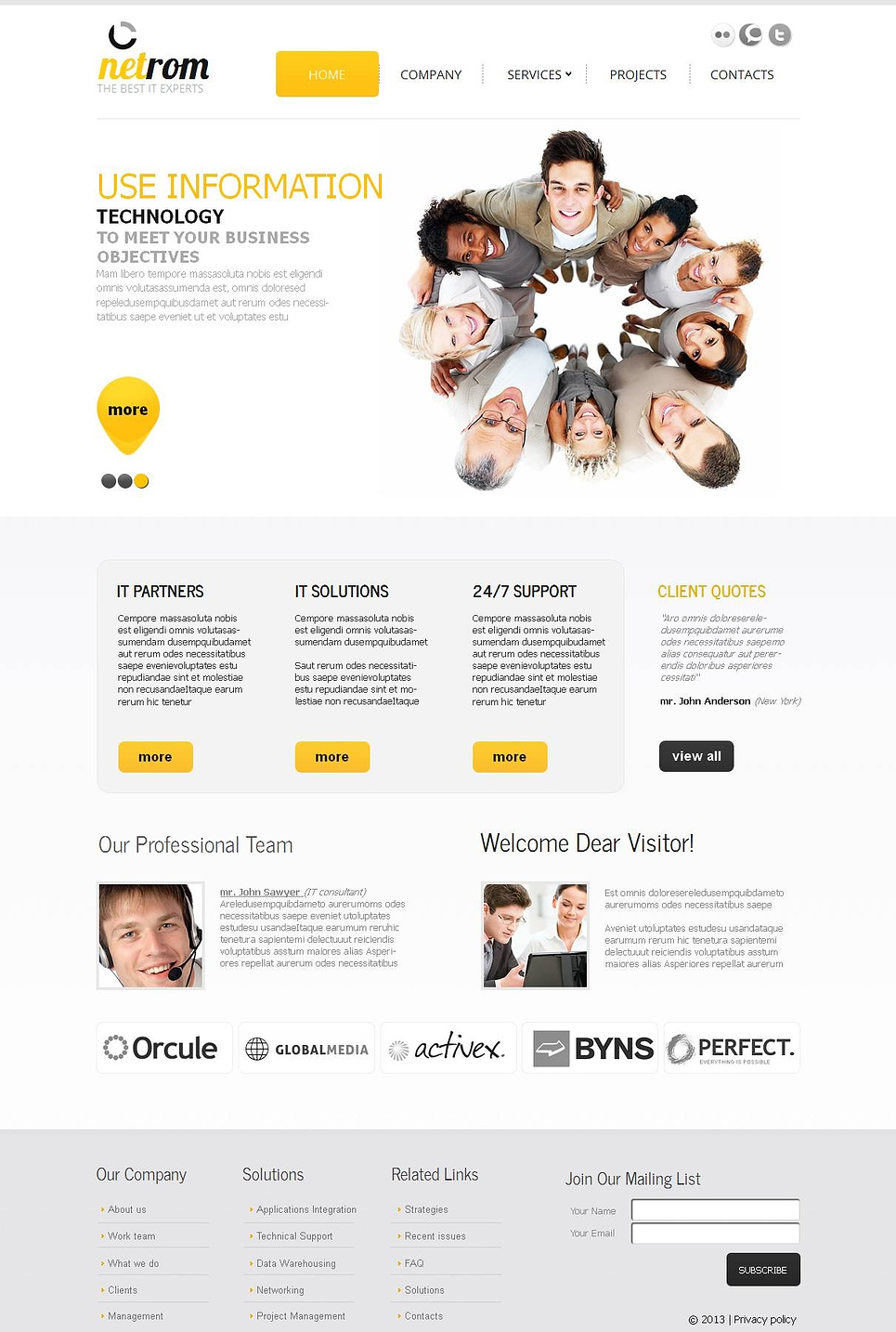 Gray Web Template with Saturated Yellow Accents - image