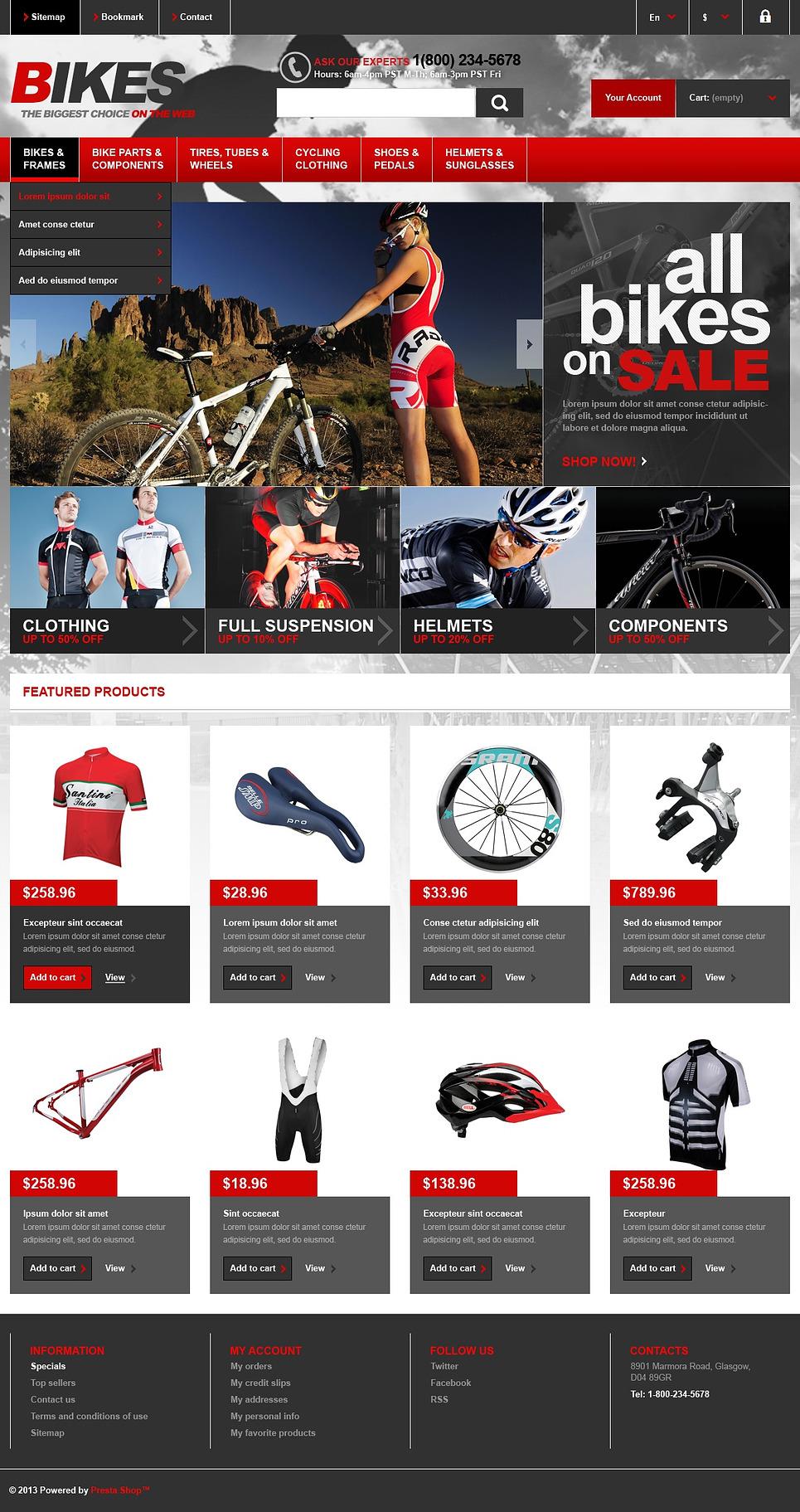 Bikes Store - Perfect Responsive Prestashop Theme