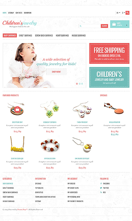 Children's jewelry store - Shining Jewellery Store PrestaShop Theme