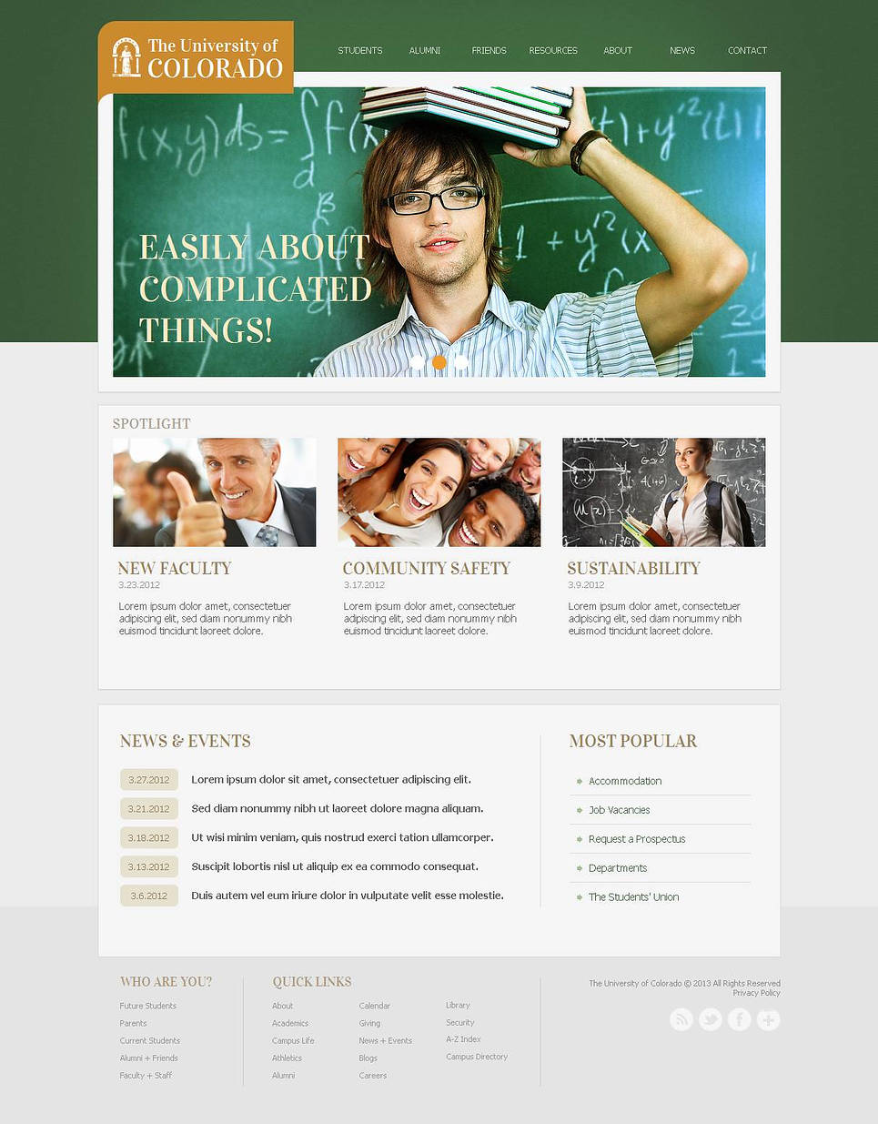 White Web Template with Green Header for Universities - image