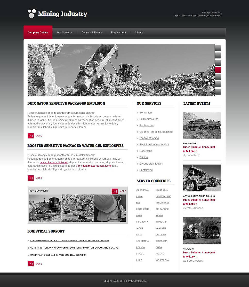 Mining Company Website Template in Gray Tones - image
