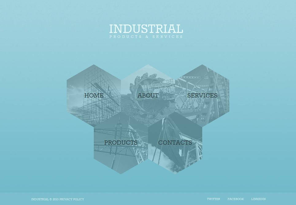 Industrial Website Template with Comb-shaped Menu Tabs - image
