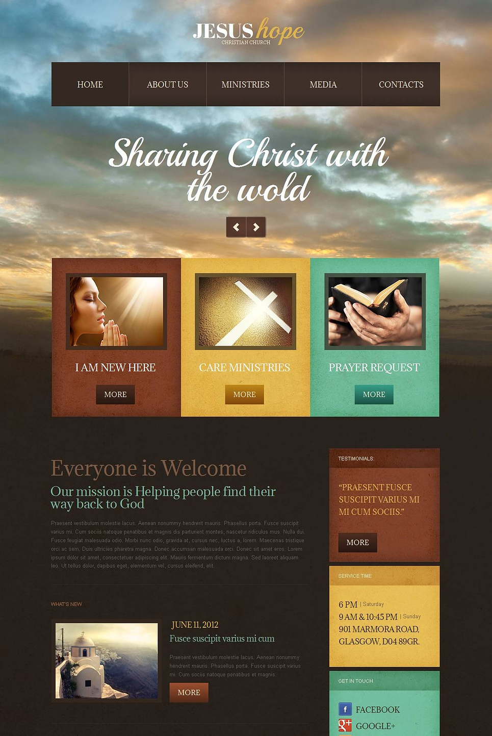 Church Website Template with Photographic Background - image