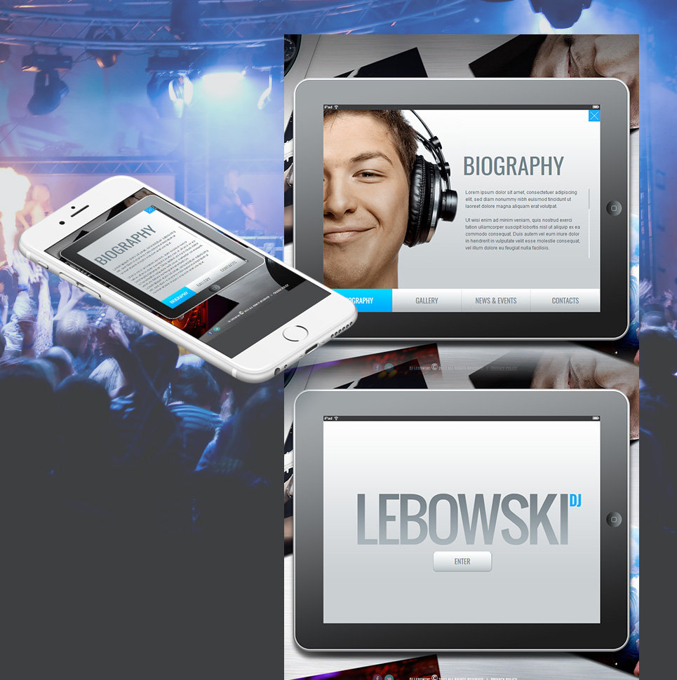 DJ's Personal Page Web Template with an iPad-Style Design - image