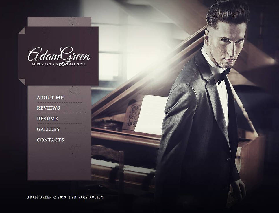 Musician's Personal Website Template With a Photo Background - image