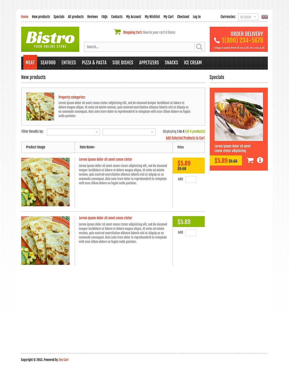 Online Bistro ZenCart Template New Screenshots BIG