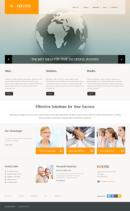 Live Demo Preview for Foster - Business WordPress Responsive Theme for Corporate companies