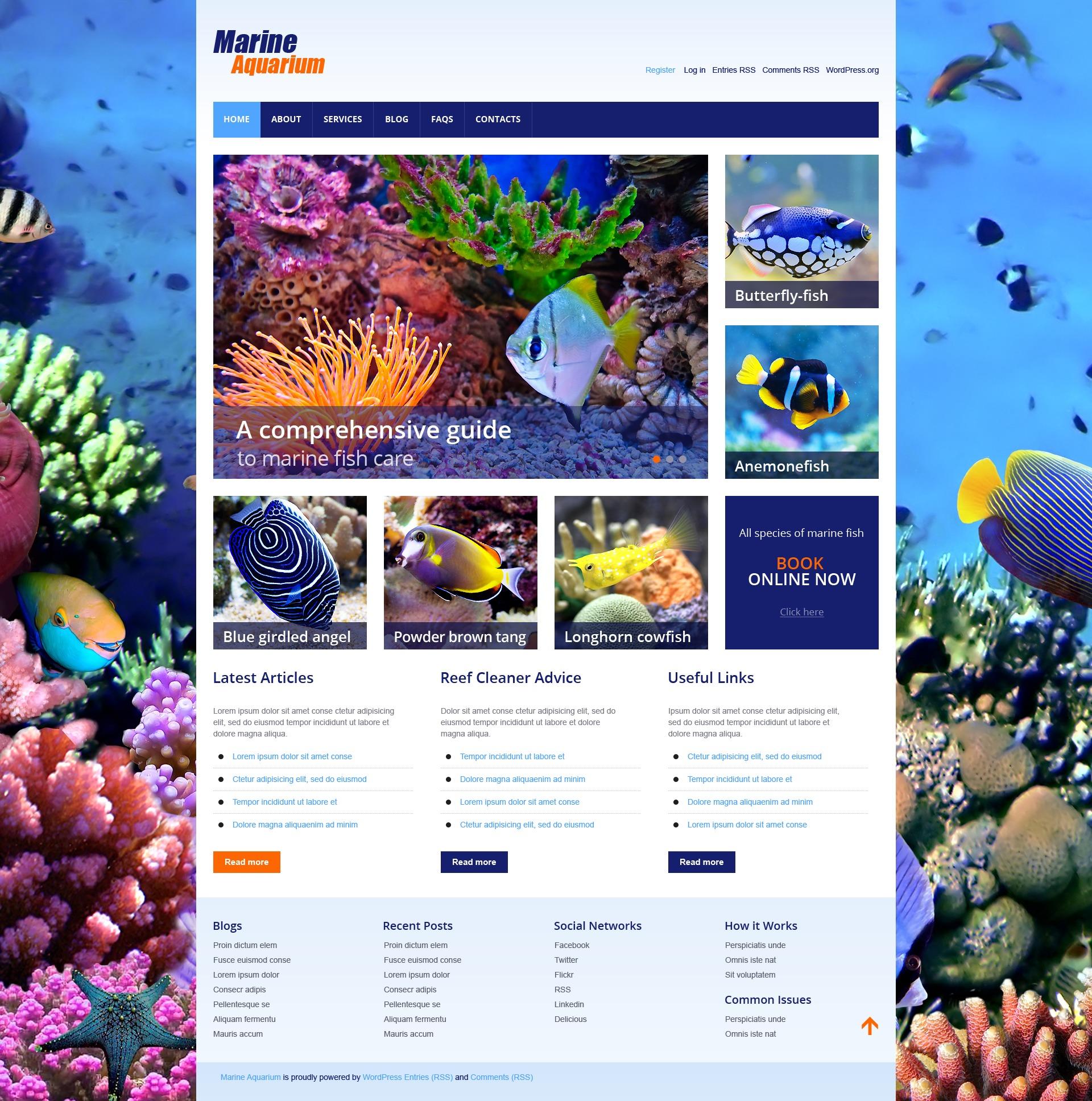 Marine aquarium wordpress theme 44842 for Site aquarium
