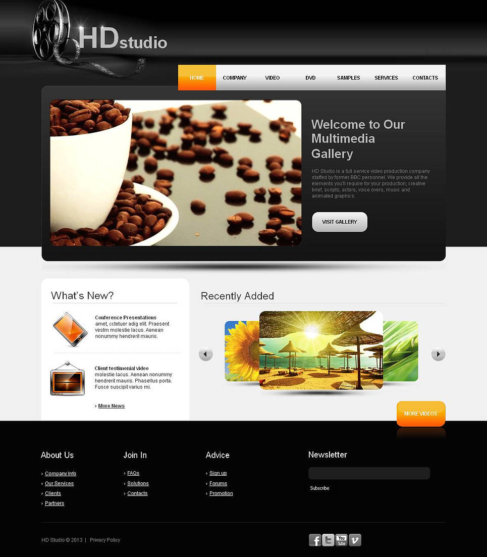 Video Production Web Template in Black and White Color Scheme - image