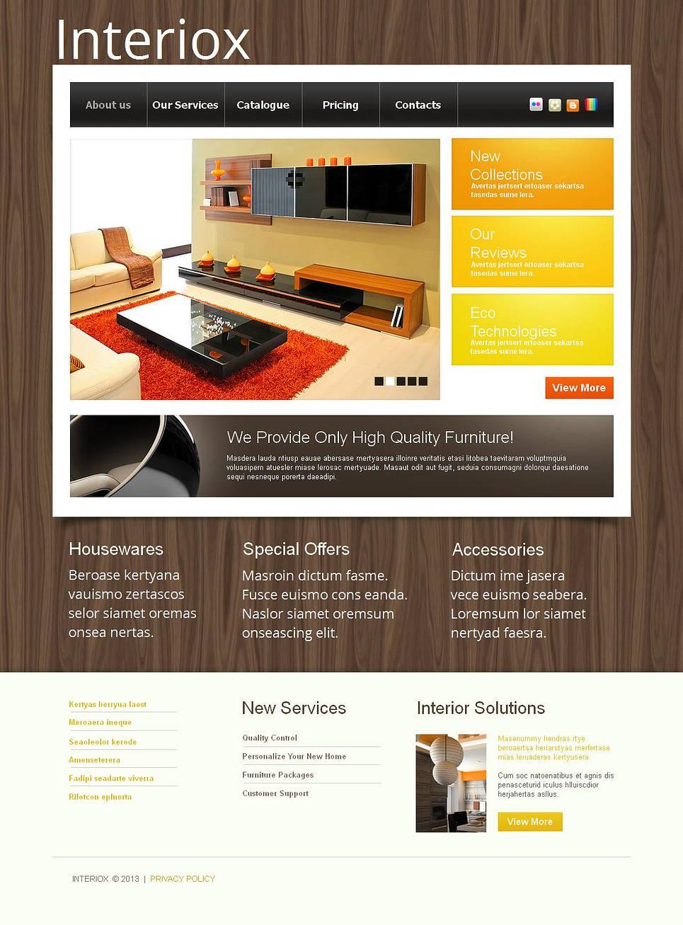 Wood Textured Website for Interior Design Portfolio - image