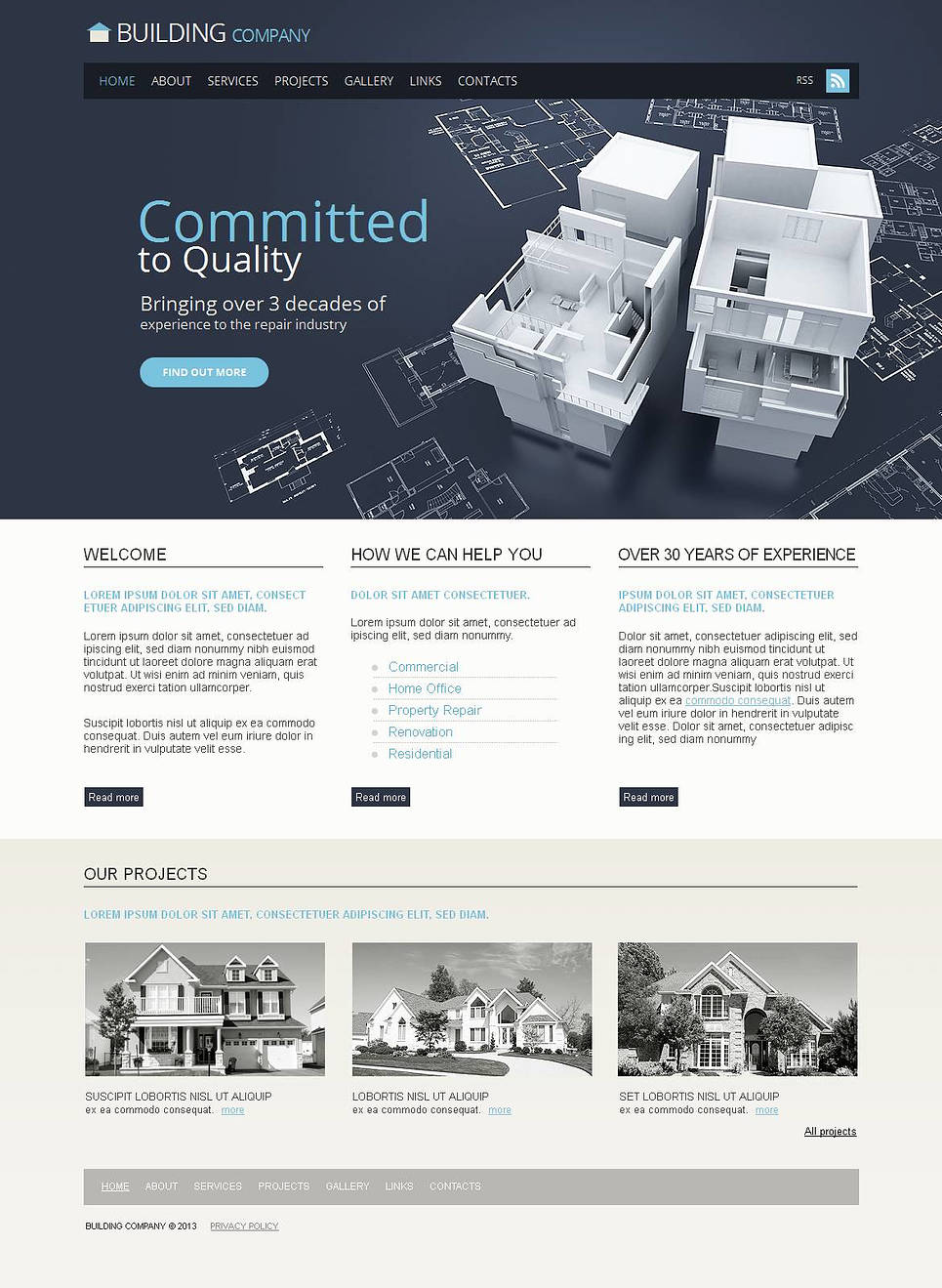 Building Company Website Template with Grid Image Gallery - image