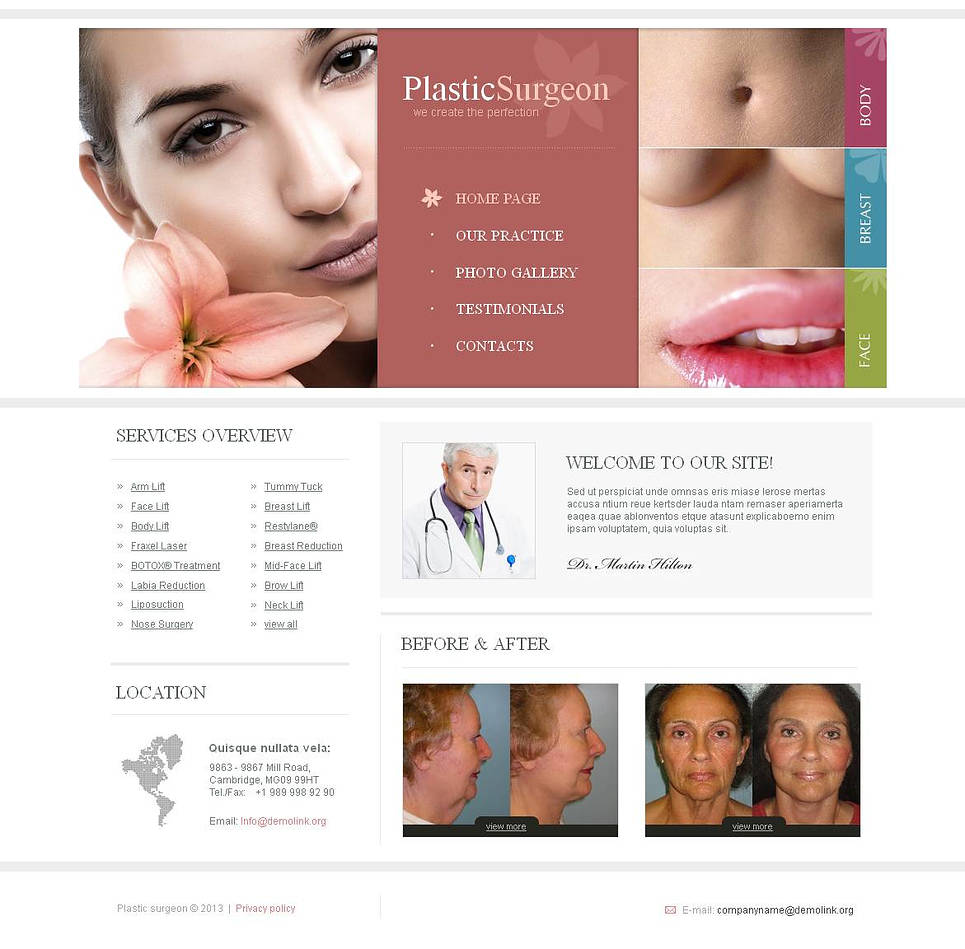 Plastic Surgery Website Template with Large Photographic Header - image