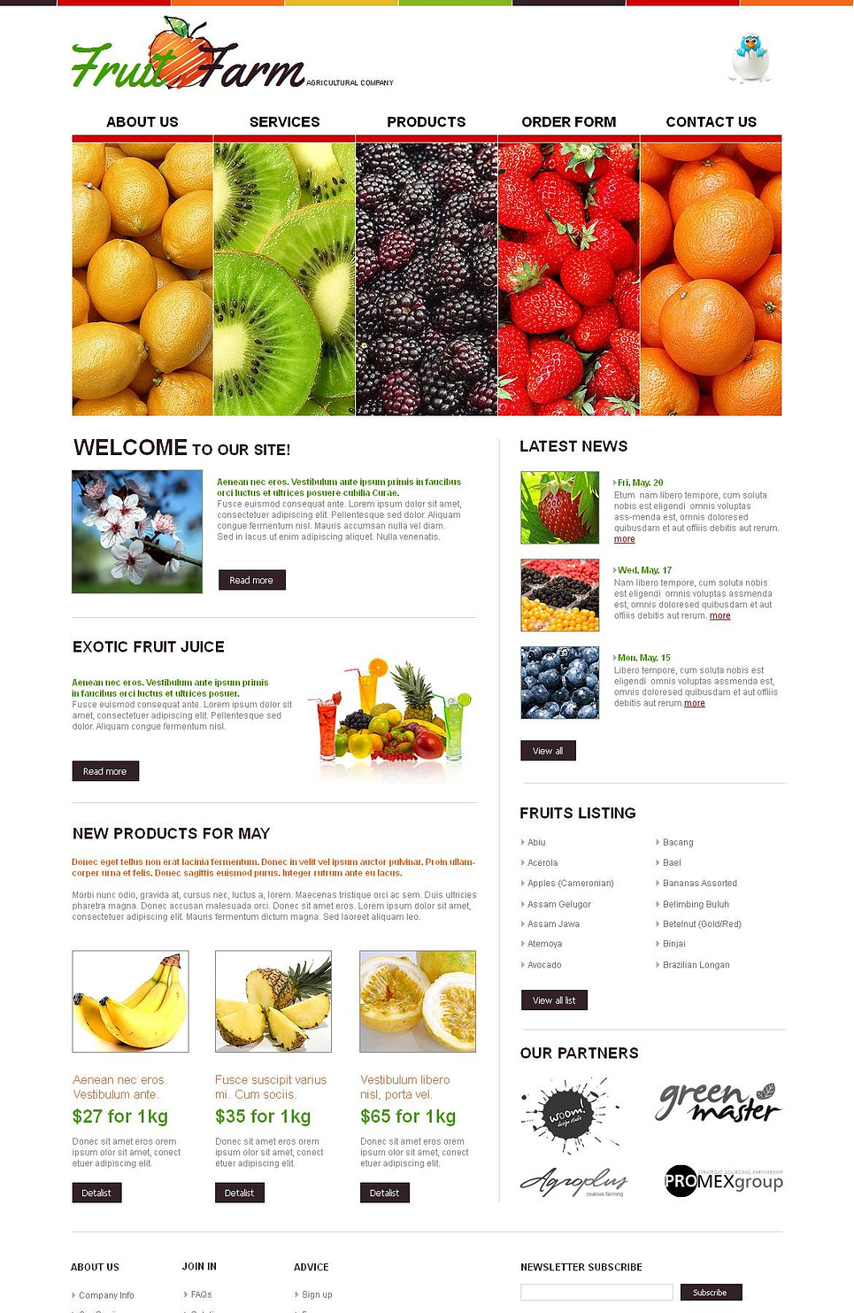 Fruit Farm Website Template with Creative Image Slider - image