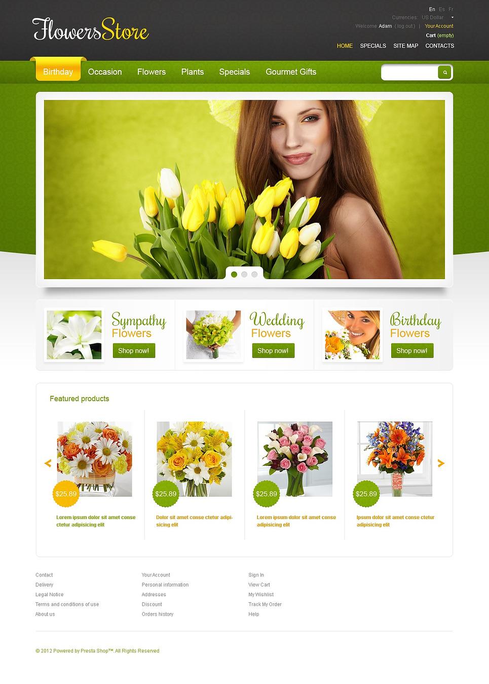 Responsive Flowers Store PrestaShop Theme New Screenshots BIG