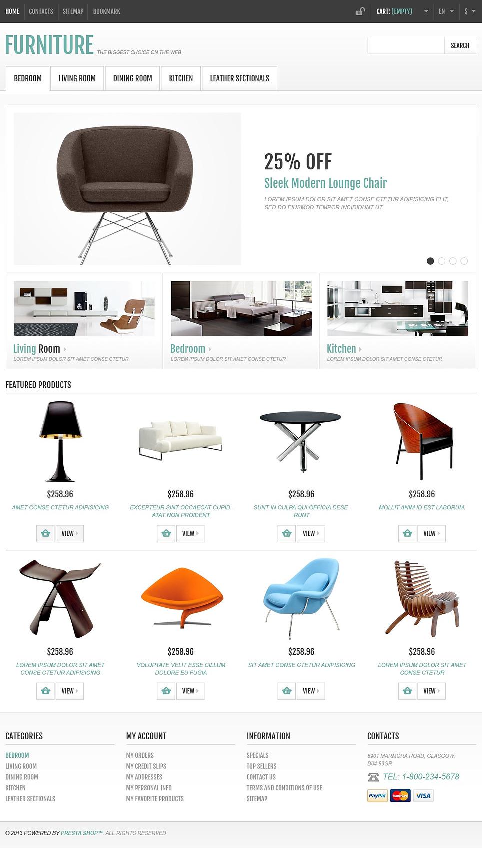 Impressive Responsive Furniture Store PrestaShop Theme