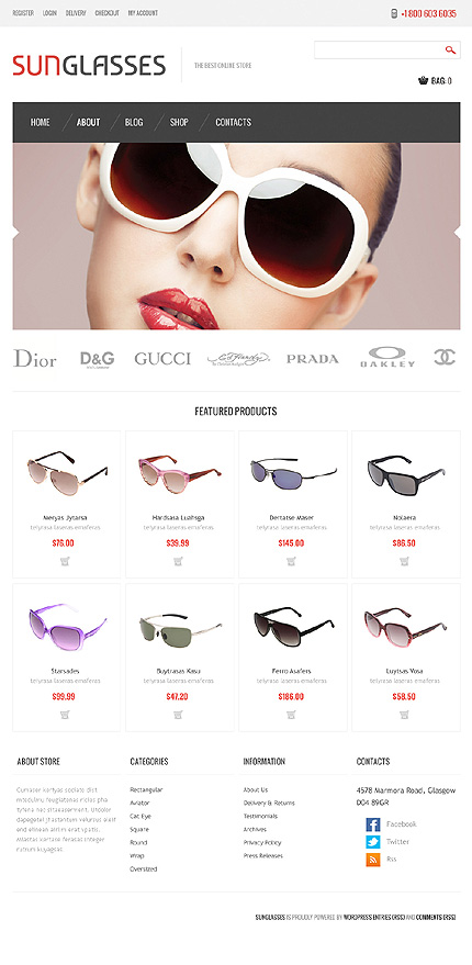 View live Demo for Fashion Sunglasses Store - Responsive WordPress Jigoshop Theme
