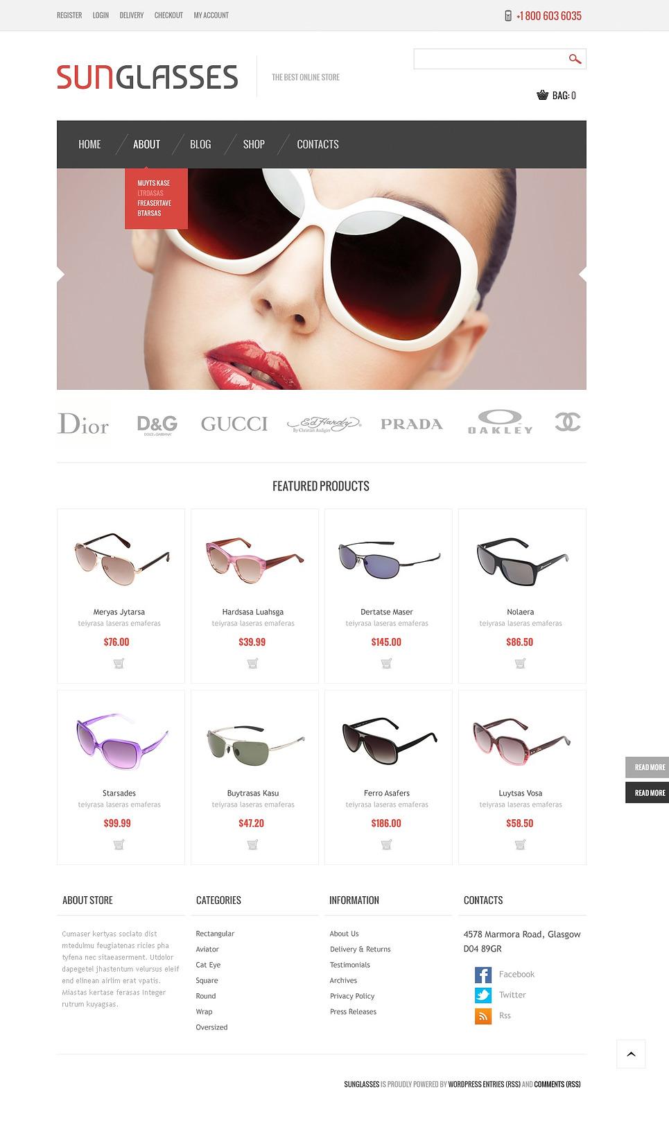 Sunglasses - Excellent Responsive Sunglasses Store Jigoshop Theme