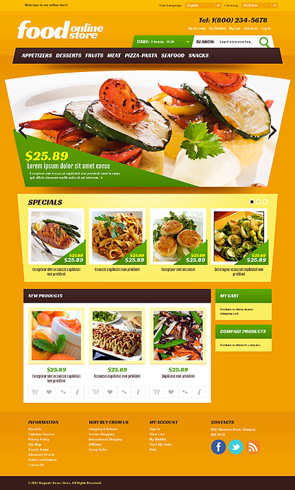 Food online store - Perfect Magento Food Store Template
