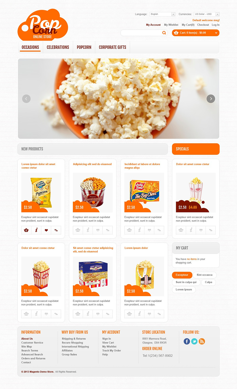 Online Popcorn Store Magento Theme New Screenshots BIG